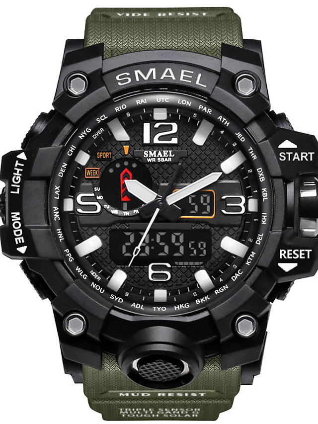 SMAEL Men's Sport Watch Military Watch Wrist Watch Japanese Quartz Quilted PU Leather Black / Blue / Red 50 m Water Resistant / Waterproof Alarm Calendar / date / day LED Analog - Digital Charm