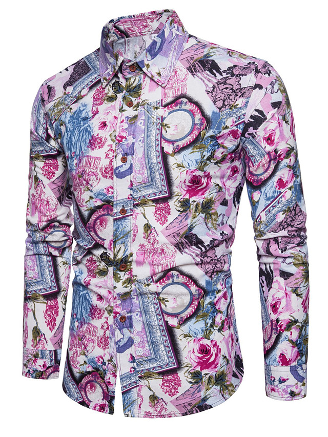 Men's Simple Plus Size Cotton / Linen Shirt - Floral / Long Sleeve