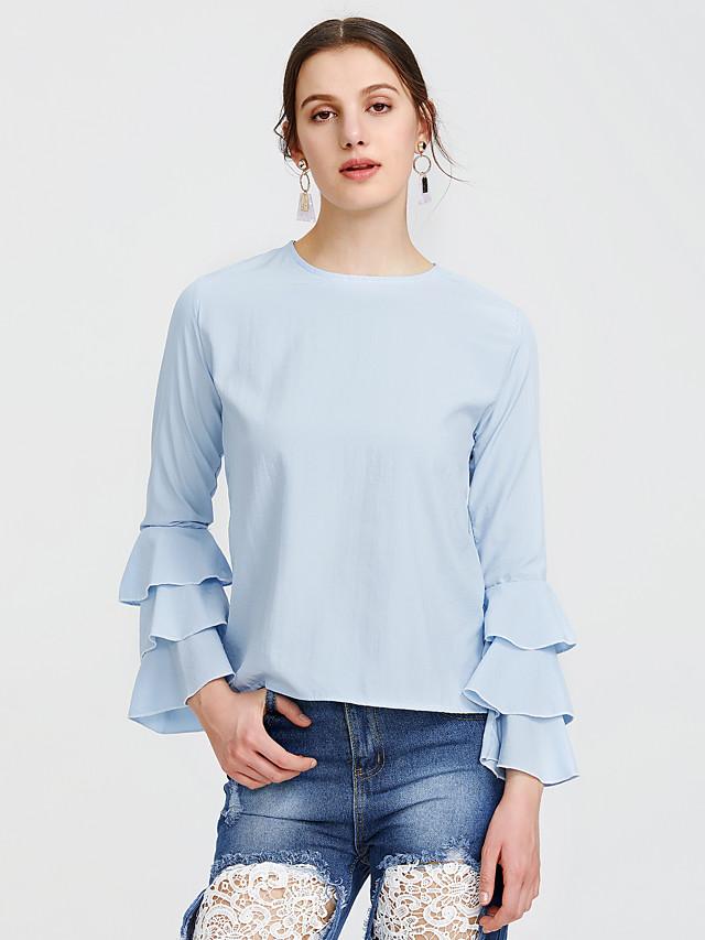 Per donna maglietta Tinta unita Manica lunga Quotidiano Top Attivo Moda città Blu