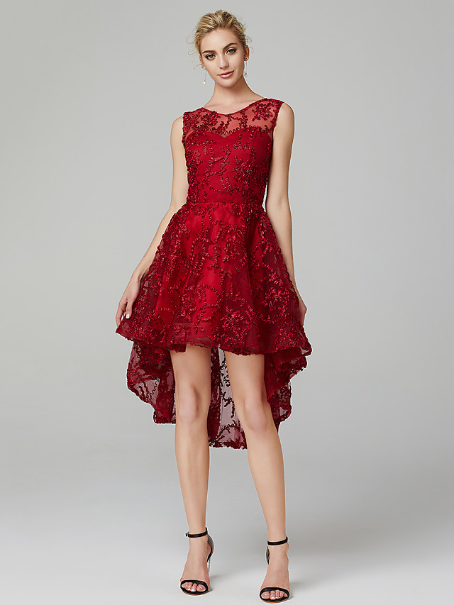 A-Line Hot Cocktail Party Prom Valentine's Day Dress Illusion Neck Sleeveless Asymmetrical Tulle with Appliques 2021