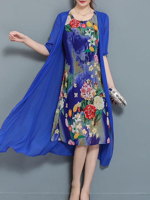 Women's Plus Size Midi Dress Blue Chiffon - Short Sleeve Floral Print Summer Going out Black Blue M L XL XXL XXXL XXXXL