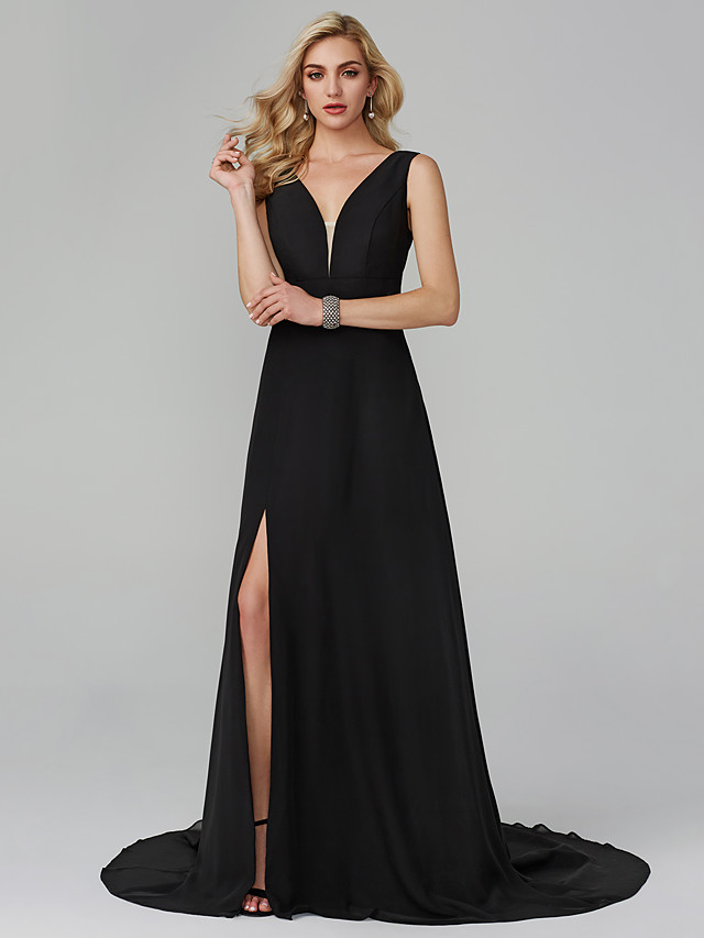 A-Line Elegant Holiday Homecoming Cocktail Party Dress Plunging Neck Sleeveless Sweep / Brush Train Chiffon with Split Front 2020 / Formal Evening