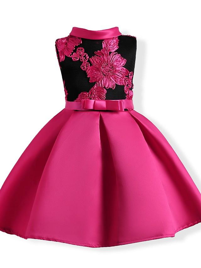Djeca Djevojčice Aktivan Party Dnevno Cvjetni print Color block Vezeno Bez rukávů Haljina Red / Slatko