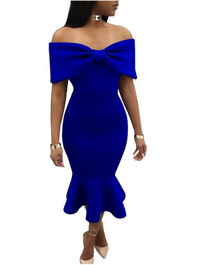 Women's Off Shoulder Red Royal Blue Dress Summer Cocktail Party Bodycon Solid Colored Strapless S M Slim / Ruffle