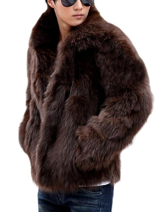Homens Casaco Sólido Clássico Inverno Casacos de Pêlo Padrão Diário Manga Longa Pêlo Sintético Casaco Blusas Branco