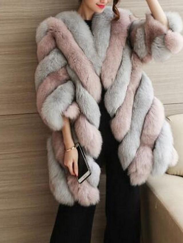 Жен. Осень / Зима Большие размеры Длинная Пальто с мехом, Контрастных цветов Черное и белое Круглый вырез Длинный рукав Искусственный мех Розовый / Винный / Зеленый