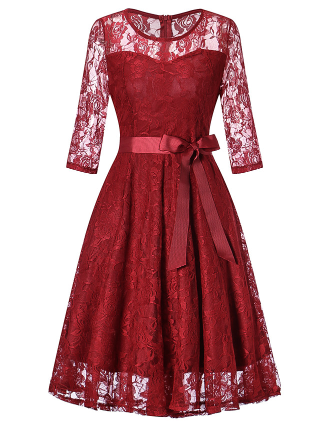A-Line Elegant Vintage Inspired Homecoming Prom Dress Jewel Neck 3/4 Length Sleeve Knee Length Lace with Sash / Ribbon 2020
