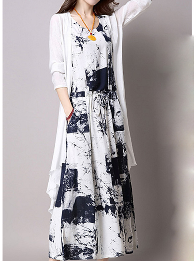 Women's Plus Size Maxi Tunic Dress - 3/4 Length Sleeve Graphic Print Summer V Neck Party Slim Black Blue M L XL XXL XXXL XXXXL XXXXXL / Cotton