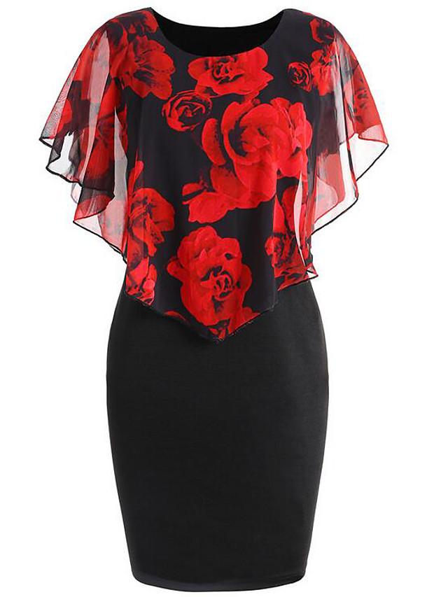 Women's Plus Size Bodycon Short Mini Dress - Sleeveless Floral Flower Print Spring Spring & Summer Elegant Going out Floral Blue Red Blushing Pink S M L XL XXL XXXL XXXXL XXXXXL