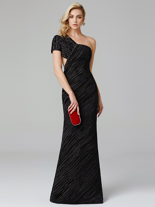 Sheath / Column Celebrity Style Formal Evening Black Tie Gala Dress One Shoulder Short Sleeve Floor Length Charmeuse with Pleats Beading 2020