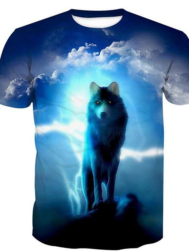 Men's T shirt Animal Print Short Sleeve Daily Tops Basic Blue