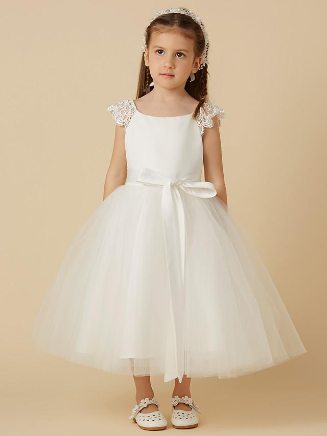 Princess White Tulle 4 Layer Short Sleeve Lace Dress w Sequence Ribbon Flower Girl Wedding Bridesmaid Junior Baptism Communion Christening