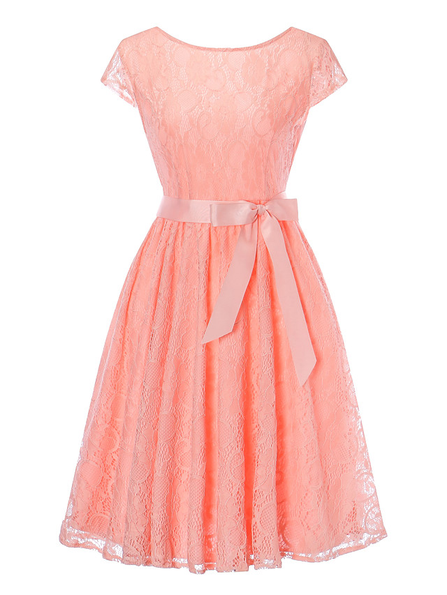 A-Line Elegant Vintage Inspired Homecoming Prom Dress Jewel Neck Short Sleeve Knee Length Lace with Sash / Ribbon 2020