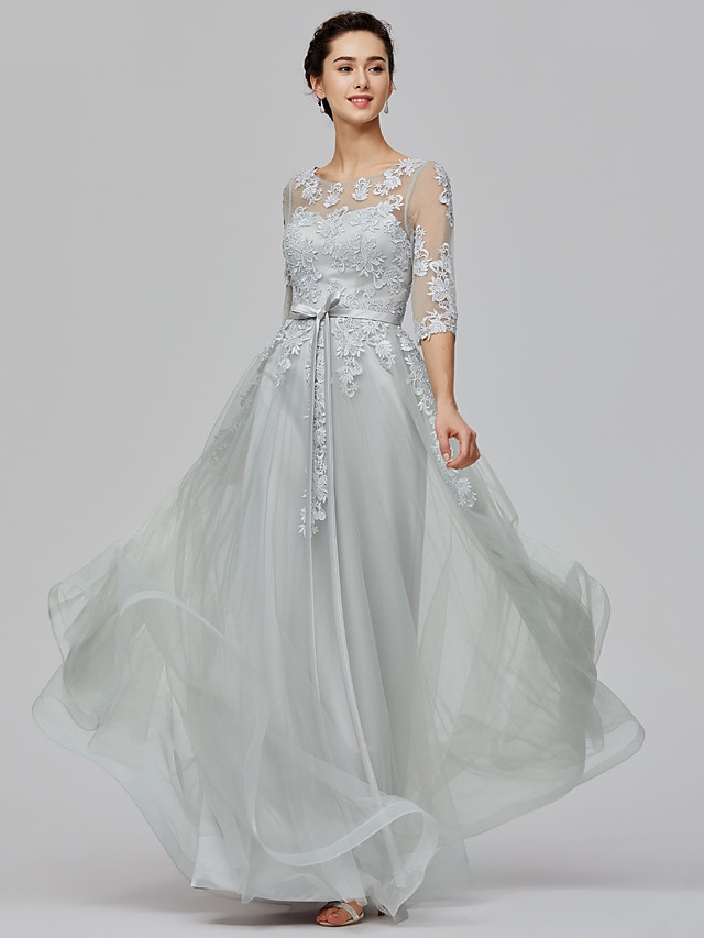A-Line Empire Wedding Guest Prom Dress Illusion Neck Half Sleeve Floor Length Tulle Sheer Lace with Bow(s) Appliques 2021