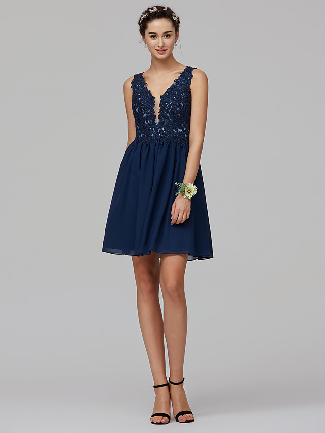 Ball Gown Cocktail Party Dress Plunging Neck Sleeveless Short / Mini Chiffon Lace with Beading Appliques 2020