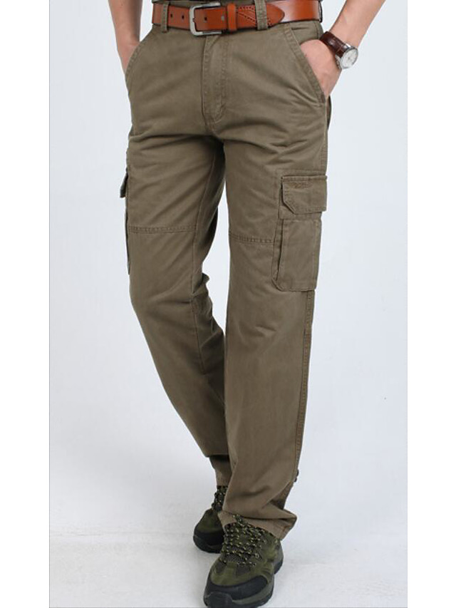 Hombre Basico Militar Corte Ancho Diario Deportes Chinos Pantalones Tipo Cargo Pantalones Un Color Longitud Total Basico Negro Verde Ejercito Caqui 6659911 2021 38 49