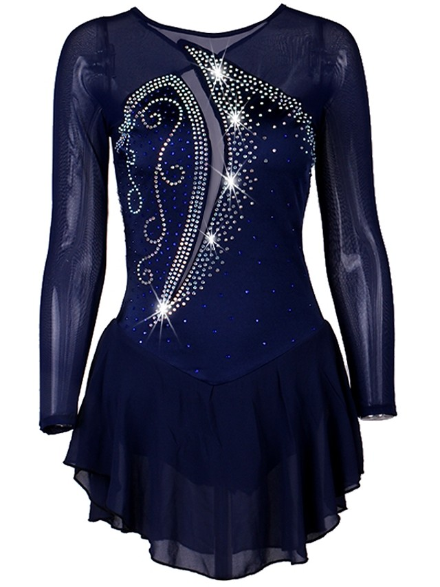 Figure Skating Dress Women's Ice Skating Dress Dark Navy Stretch Yarn Stretchy Professional Competition Skating Wear Quick Dry Anatomic Design Handmade Classic Long Sleeve Performance Ice Skating