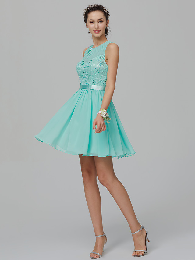 Ball Gown Elegant Pastel Colors Homecoming Cocktail Party Dress Jewel Neck Sleeveless Short / Mini Chiffon Lace with Sash / Ribbon Beading 2020