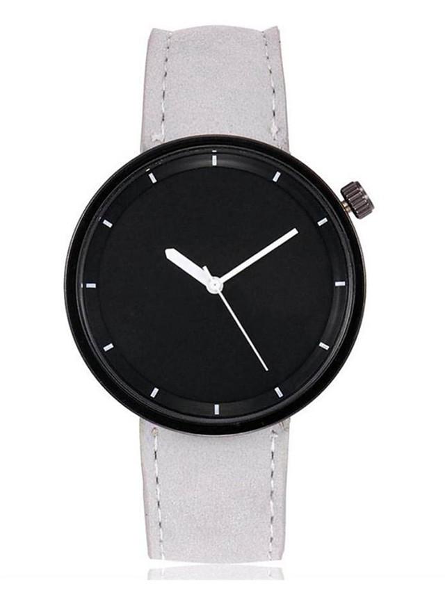 Men's Women's Wrist Watch Quartz Bangle Large Dial Analog White Black Purple / One Year / Leather / SSUO LR626