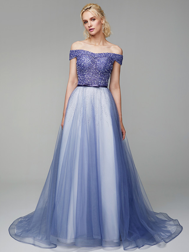 Ball Gown Elegant & Luxurious Beaded & Sequin Formal Evening Black Tie Gala Dress Off Shoulder Short Sleeve Sweep / Brush Train Tulle with Beading Sequin 2020