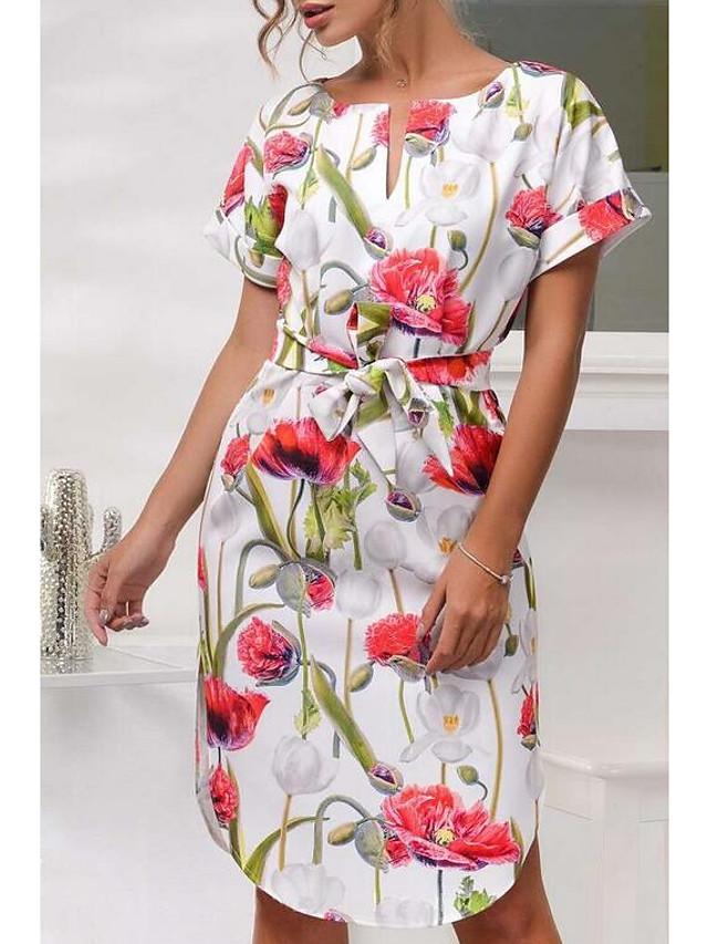 Damen Blumen Knielang Purpur Rote Kleid Sommer Ausgehen ...