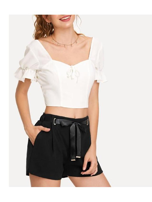 Femme Basique Taille haute Coton Mince Chino / Short Pantalon - Noeud / Mosaïque, Couleur Pleine ...