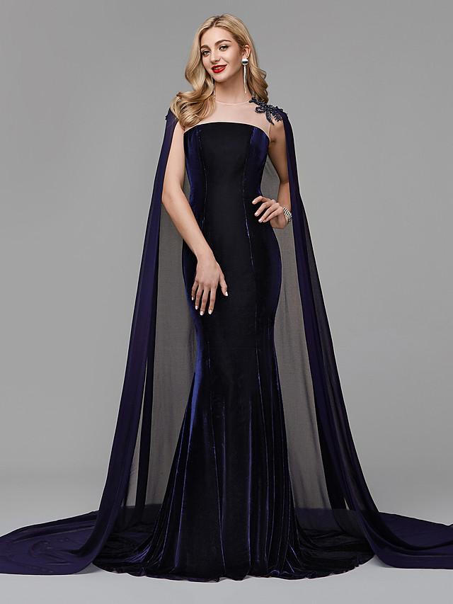 Mermaid / Trumpet Elegant Formal Evening Black Tie Gala Dress Jewel Neck Sleeveless Court Train Chiffon Velvet with Beading Appliques 2020