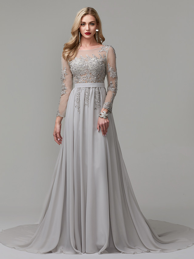 A-Linie luxuriös Grau Verlobung Formeller Abend Kleid ...