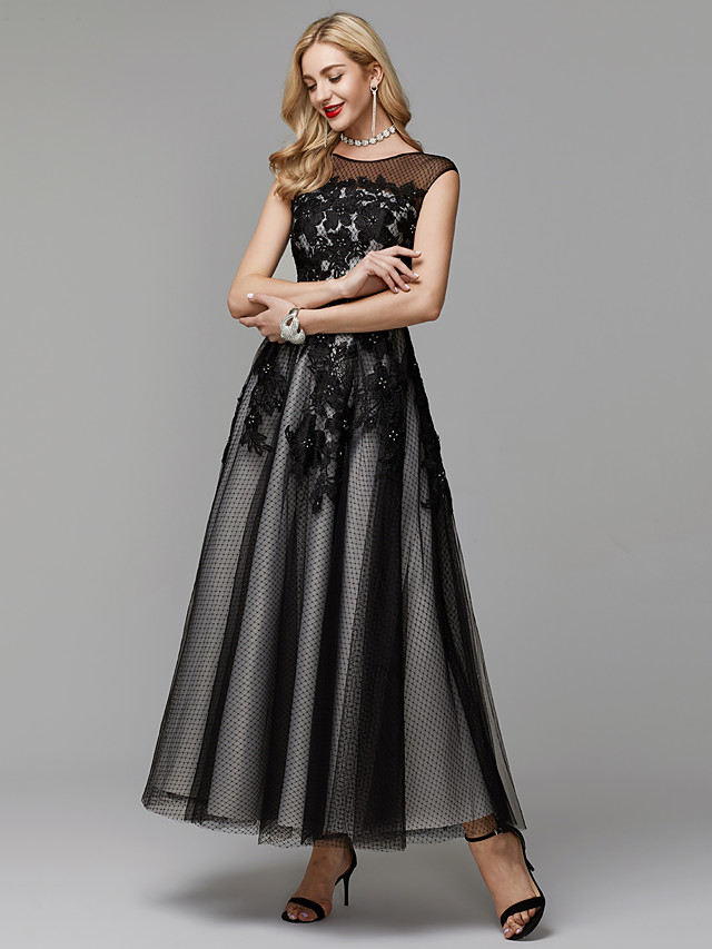 A-Line Elegant Little Black Dress Keyhole Prom Formal Evening Dress Illusion Neck Sleeveless Ankle Length Lace Tulle with Appliques 2020