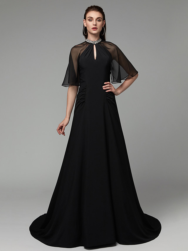 A-Line Elegant Celebrity Style Formal Evening Dress High Neck Half Sleeve Sweep / Brush Train Chiffon Tulle with Ruched Beading 2020 / Illusion Sleeve