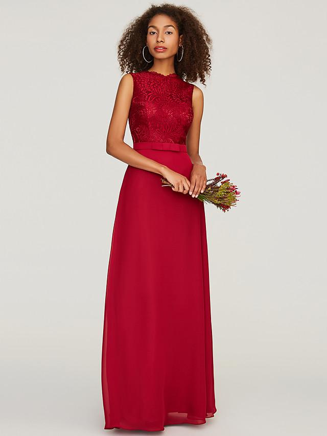 A-Line Jewel Neck Floor Length Chiffon / Lace Bridesmaid Dress with Sash / Ribbon / Bow(s)