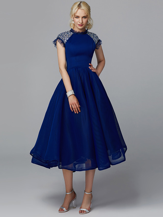 Ball Gown Elegant Beaded & Sequin Cocktail Party Prom Dress High Neck Short Sleeve Tea Length Tulle with Sequin 2020