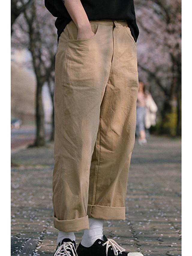Hombre Algodon Corte Ancho Chinos Pantalones Un Color Negro M 6825681 2021 28 59