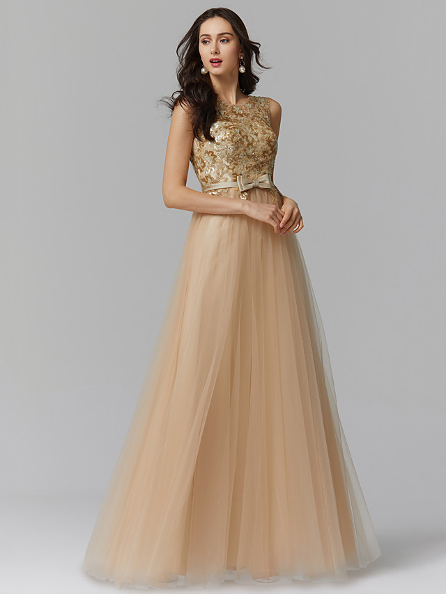 A-Line Elegant Sparkle & Shine Beaded & Sequin Formal Evening Black Tie Gala Dress Jewel Neck Sleeveless Floor Length Tulle with Bow(s) Appliques 2020