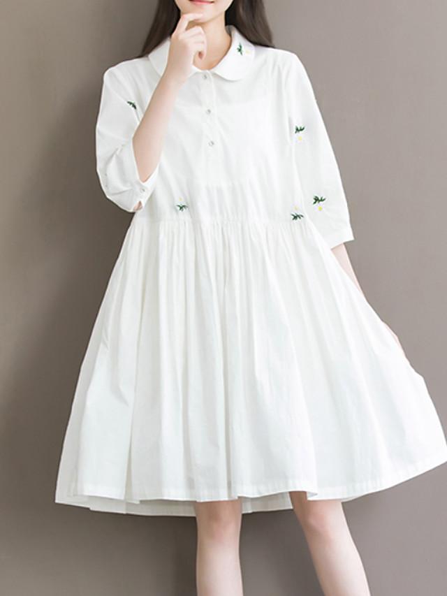 Damen Knielang Weiß Kleid Grundlegend Frühling A-Linie ...