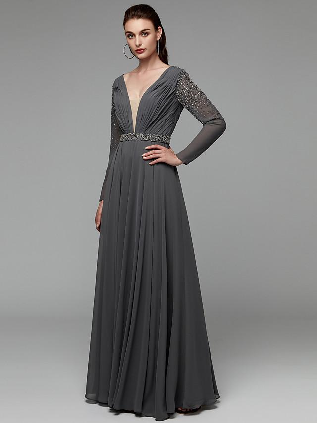 A-Line Elegant Open Back Beaded & Sequin Black Tie Gala Dress Plunging Neck Long Sleeve Floor Length Chiffon with Sash / Ribbon Beading 2020