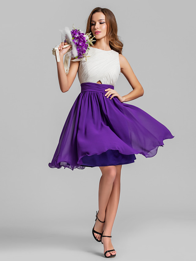A-Line Jewel Neck Above Knee Chiffon Bridesmaid Dress with Ruching