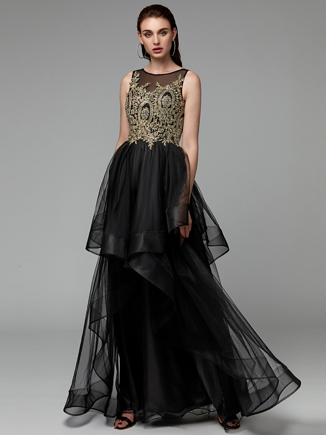 Ball Gown Elegant & Luxurious See Through Beaded & Sequin Prom Black Tie Gala Dress Jewel Neck Sleeveless Floor Length Lace Tulle with Beading Appliques Cascading Ruffles 2020