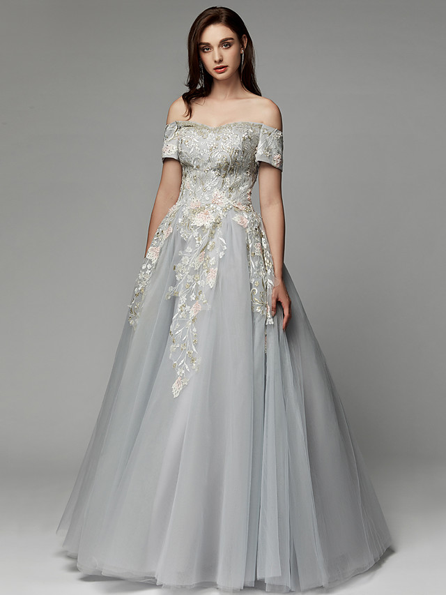 Ball Gown Elegant Floral Prom Formal Evening Dress Off Shoulder Short Sleeve Floor Length Satin Tulle with Embroidery 2020