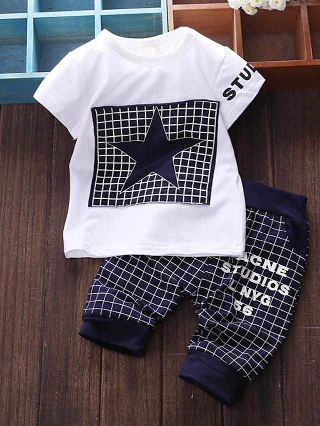 Baby Drenge Basale Daglig Patchwork Patchwork Kortærmet Normal Bomuld Tøjsæt Navyblå