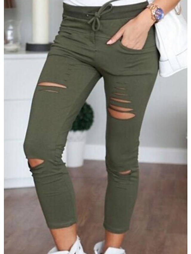Women's Daily Skinny Cotton Chinos Pants - Solid Colored White Black Army Green S / M / L