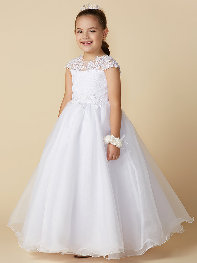 Ball Gown Ankle Length Wedding / First Communion Flower Girl Dresses - Lace / Tulle Short Sleeve Jewel Neck with Beading / Appliques