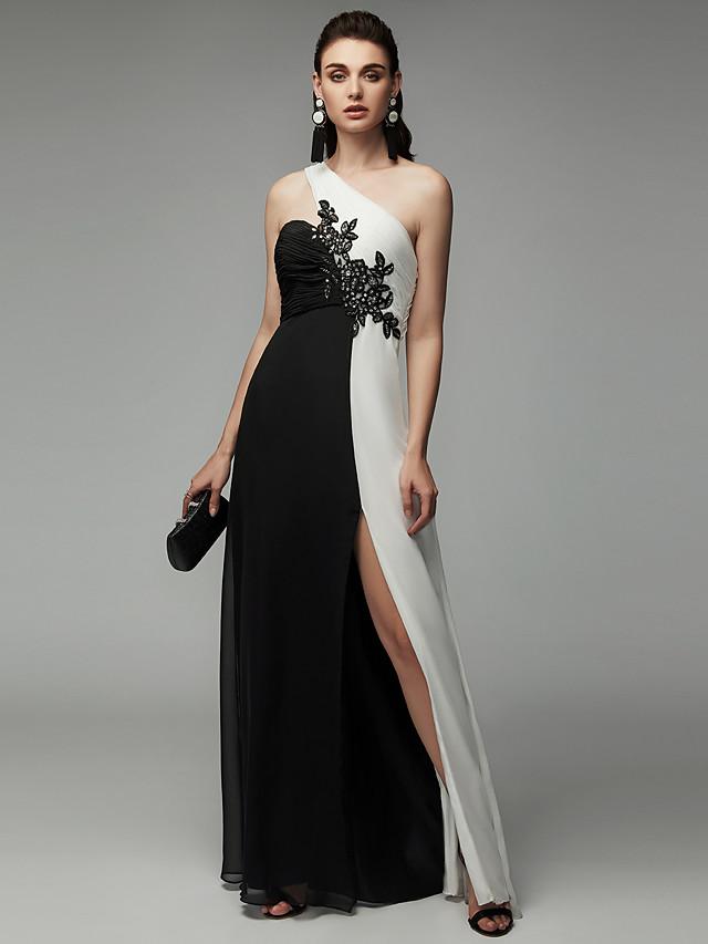 A-Line Color Block Formal Evening Black Tie Gala Dress One Shoulder Sleeveless Floor Length Chiffon with Beading Split Front 2020