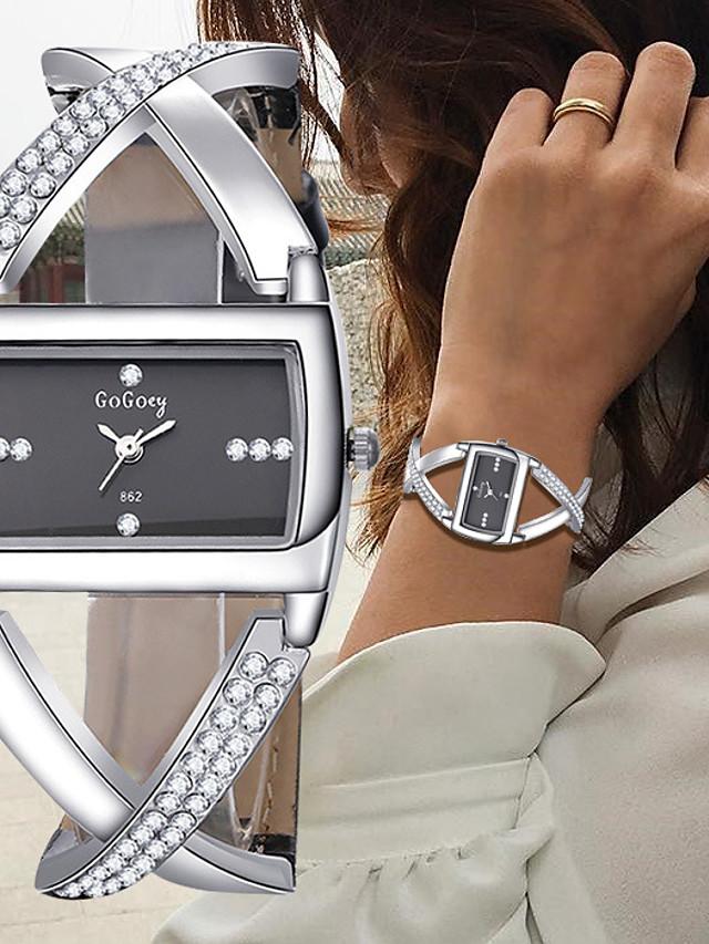 Mulheres Bracele Relógio Relógio de Pulso Relógio de diamante Quartzo senhoras Cronógrafo Couro Preta / Branco Analógico - Branco Preto Um ano Ciclo de Vida da Bateria / SSUO 377