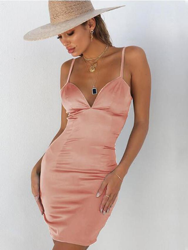 Mujer Fiesta Noche Sensual Pitillo Corte Bodycon Vestido Un Color Mini Con Tirantes Sexy 6868941 2021 17 59