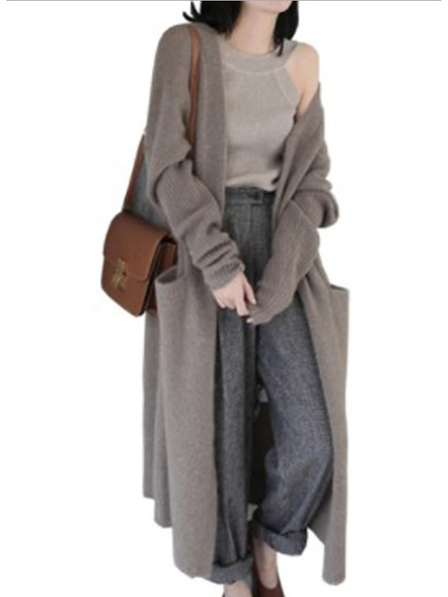 Women's Daily Solid Colored Long Sleeve Loose Long Cardigan Sweater Jumper, V Neck Black / Camel One-Size