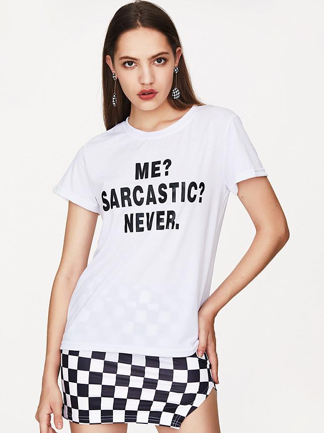 Mulheres Camiseta Moda de Rua Letra