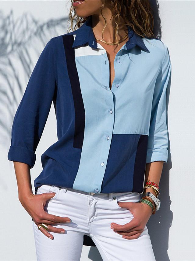 Women's Color Block Patchwork Loose Blouse Elegant Street chic Daily Shirt Collar White / Blue / Royal Blue / Navy Blue / Light Blue