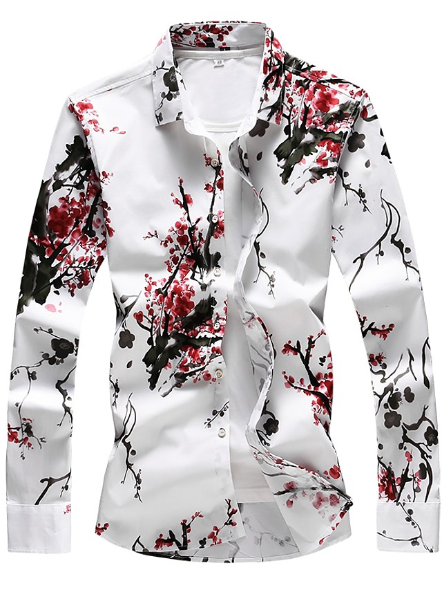 Men's Daily Plus Size Shirt Floral Print Long Sleeve Slim Tops Basic Red