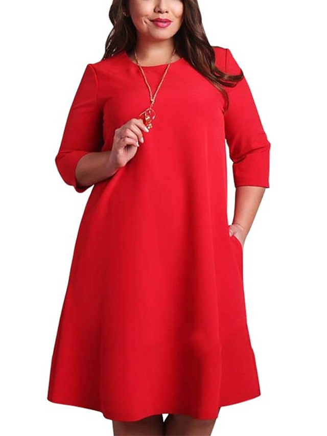 Women's Plus Size Dress Shift Dress Knee Length Dress 3/4 Length Sleeve Solid Colored Red Clothing Basic Red Green L XL XXL 3XL 4XL